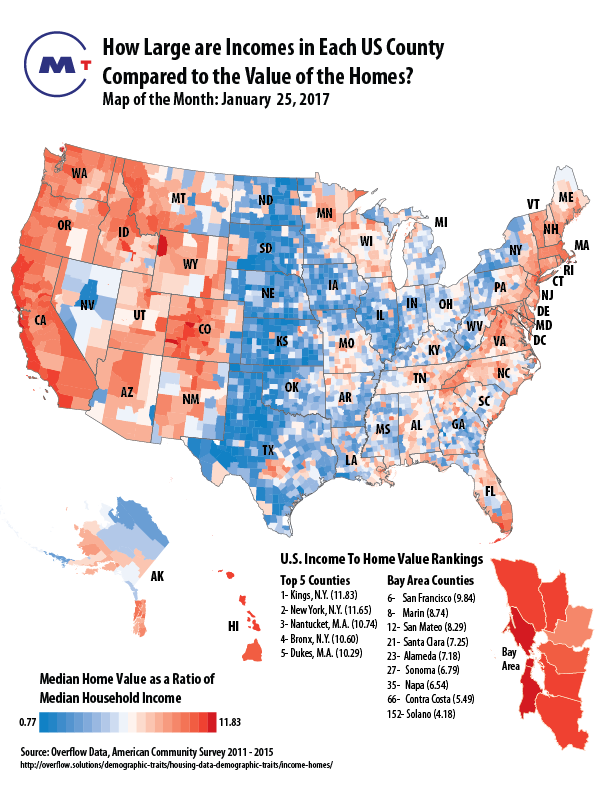 How Large Are Incomes In Each Us County Compared To The Value Of The Homes
